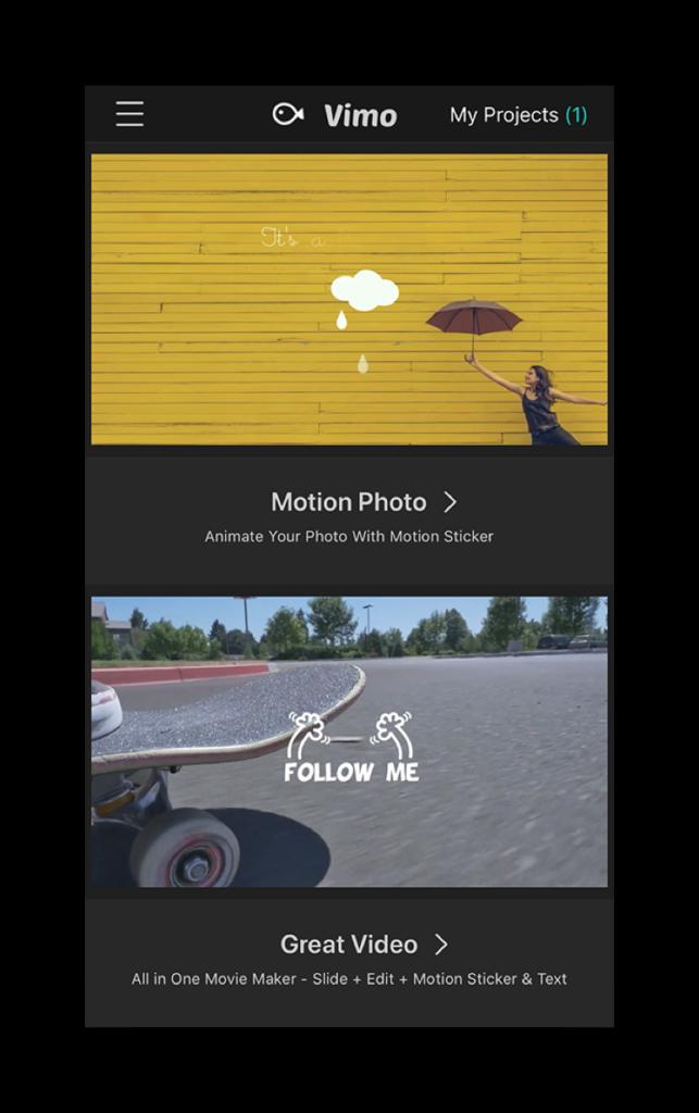 Giao diện Vimo - Ứng dụng tạo video dễ thương