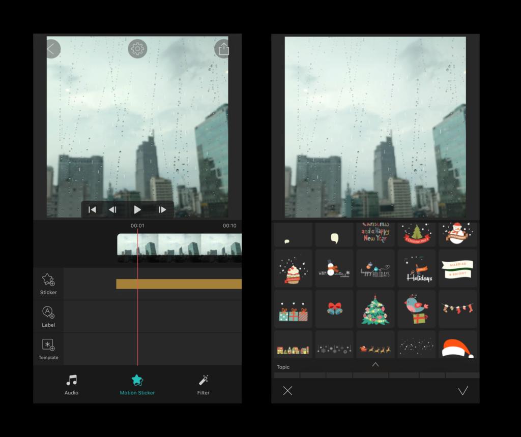 Thêm Sticker trong Vimo - Ứng dụng tạo video dễ thương