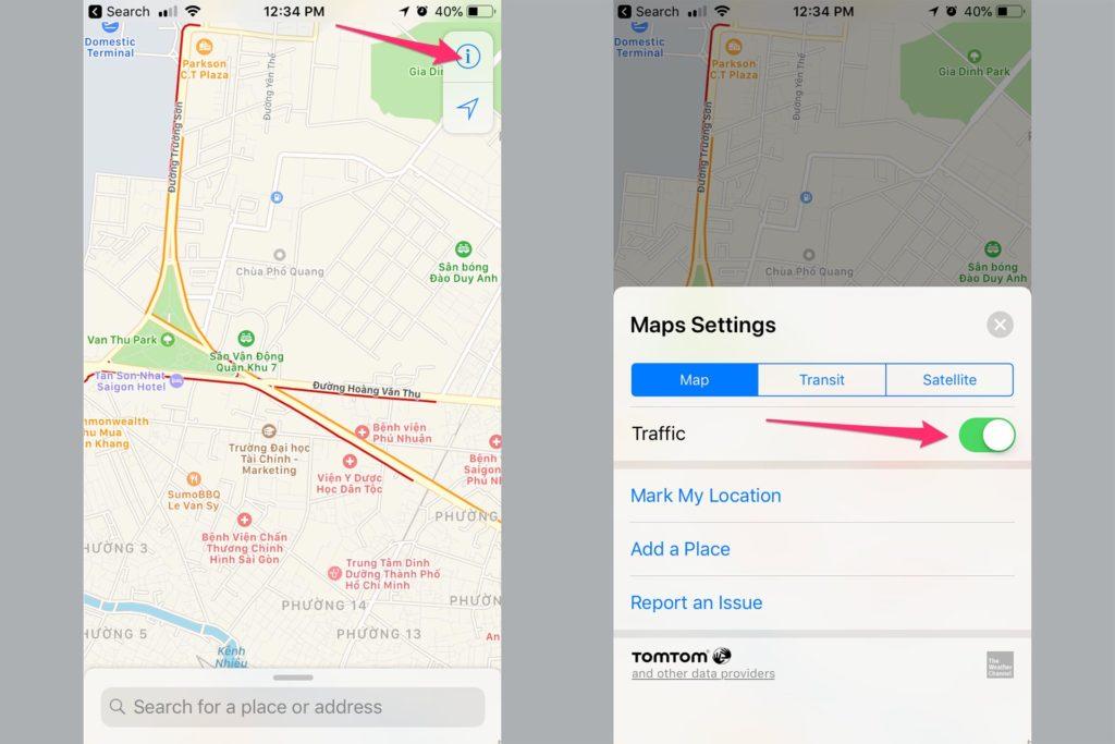 Hướng dẫn bật tính năng xem tình trạng giao thông trên Apple Maps