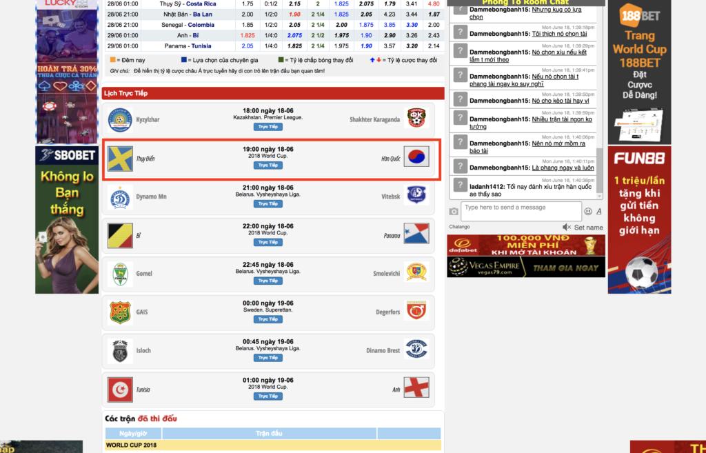 Giao diện Keonhacai.com - Lựa chọn trận đấu mà bạn muốn xem
