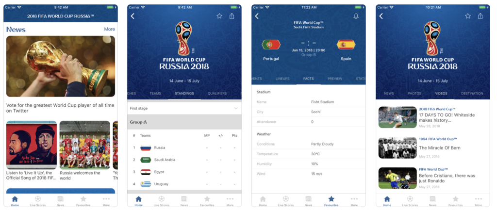 Giao diện ứng dụng 2018 FIFA World Cup Russia