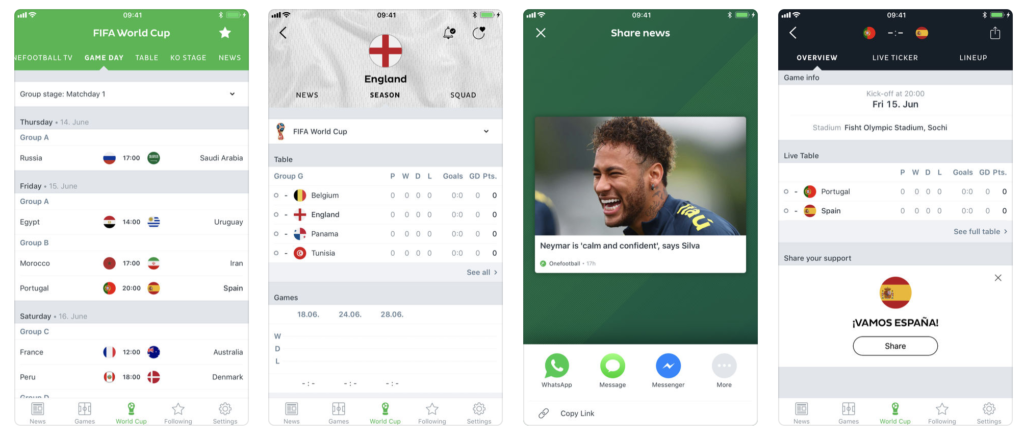 Giao diện ứng dụng OneFootball