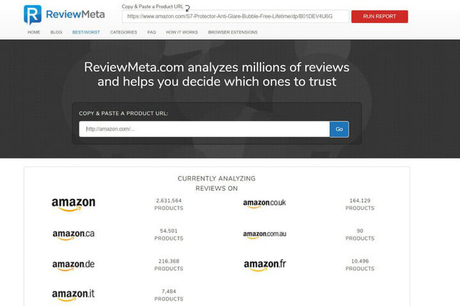 Giao diện trang ReviewMeta