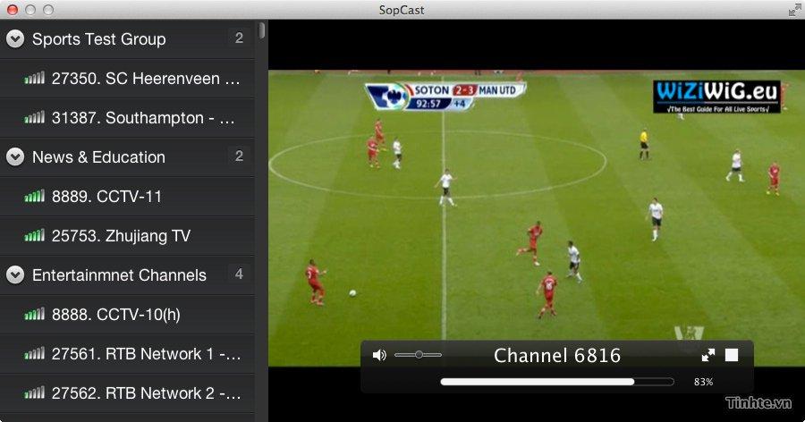Sopcast phát trực tiếp ngoại hạng