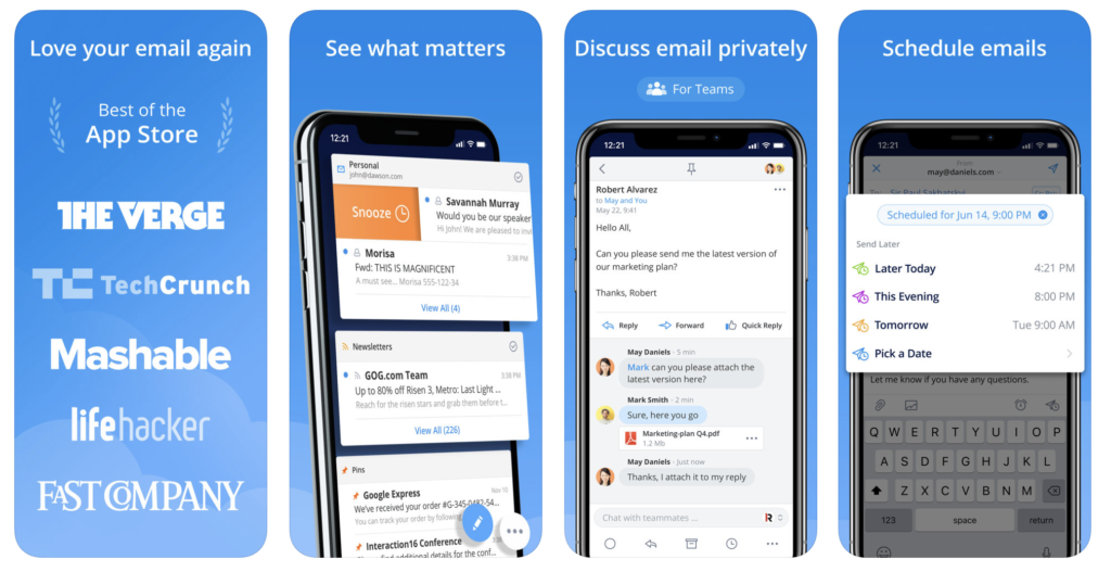 Giao diện ứng dụng Spark Mail