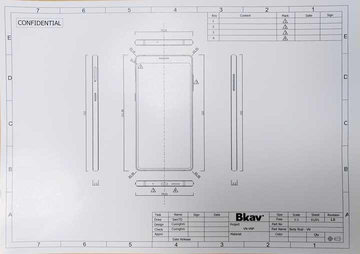Bản thiết kế bị lộ của BPhone 3