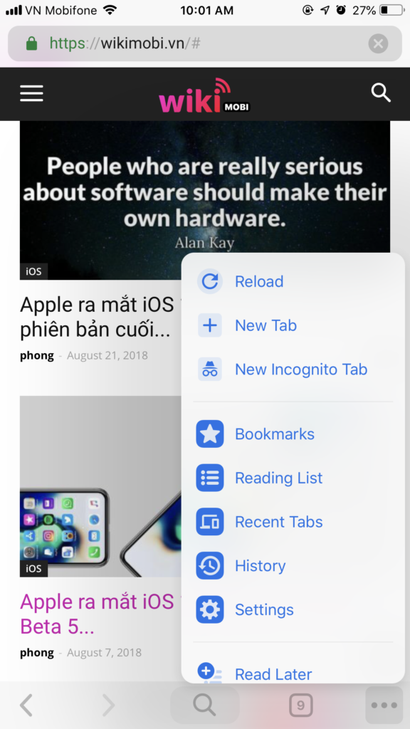 Giao diện Chrome mới trên iOS