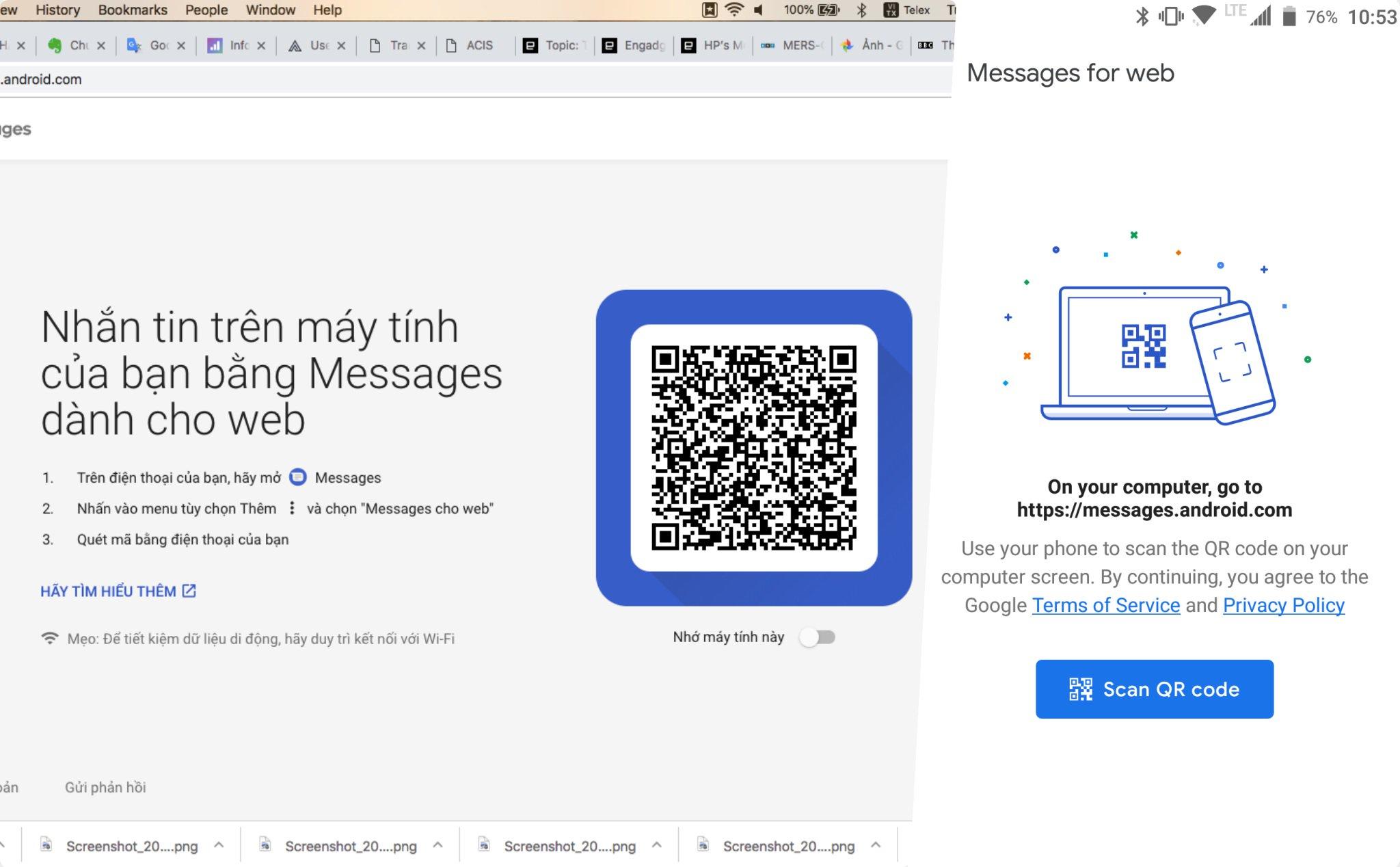 Android Messages có thể nhắn tin qua máy tính