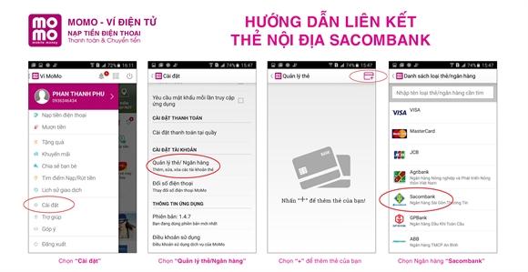 Hướng dẫn liên kết ví MoMo với thẻ nội địa Sacombank