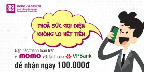 Chủ thẻ VPBank nạp tiền và thanh toán qua MoMo nhận ngay 100.000đ