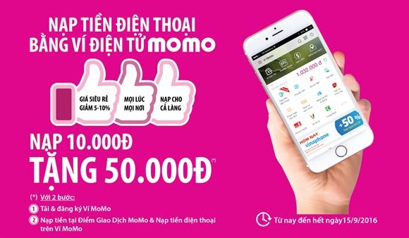Nạp tiền điện thoại nhận 120.000đ từ Ví MoMo